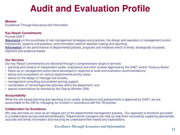 Audit and Evaluation Profile