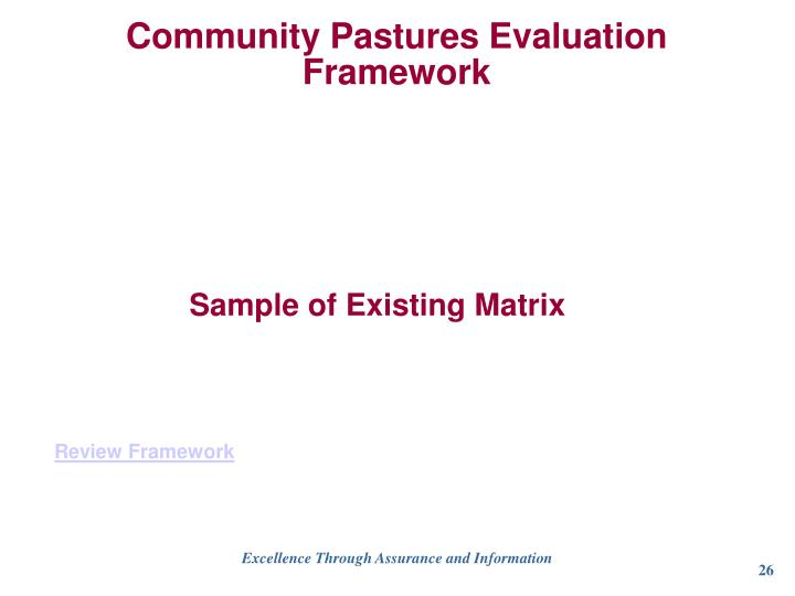 Community Pastures Evaluation Framework