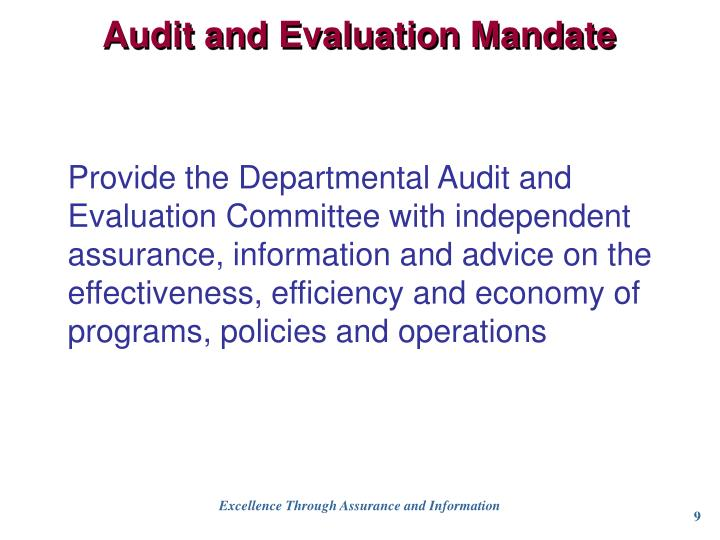 Audit and Evaluation Mandate