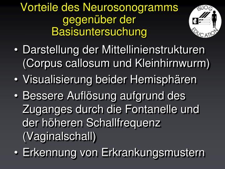 Vorteile des Neurosonogramms gegenüber der Basisuntersuchung