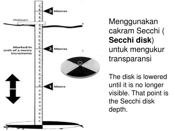 Menggunakan cakram Secchi (
