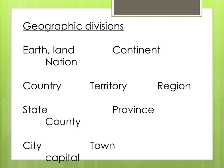 Geographic divisions