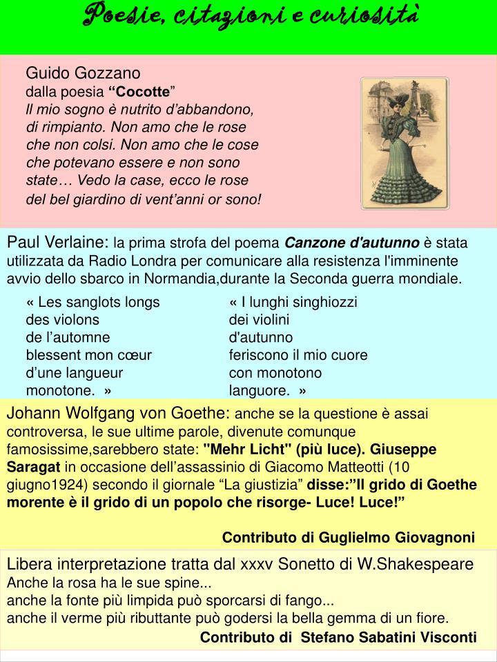 Poesie, citazioni e curiosità