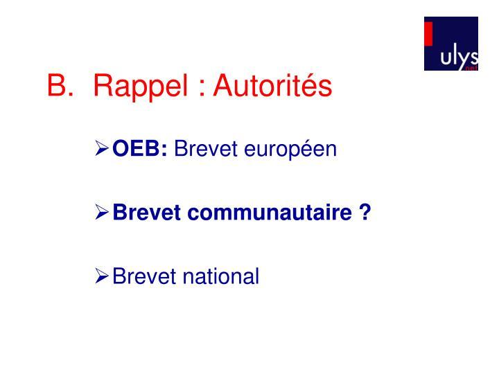 B.  Rappel :