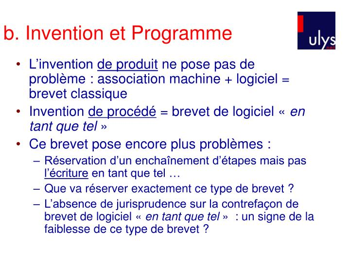 b. Invention et Programme