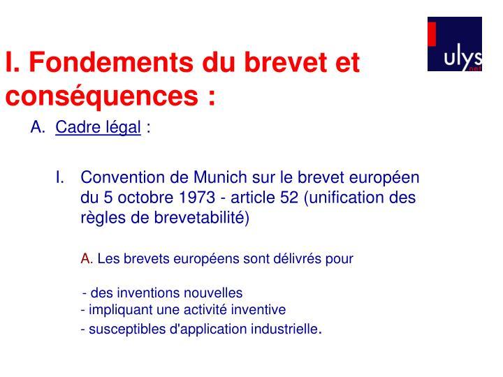 I. Fondements du brevet et conséquences :