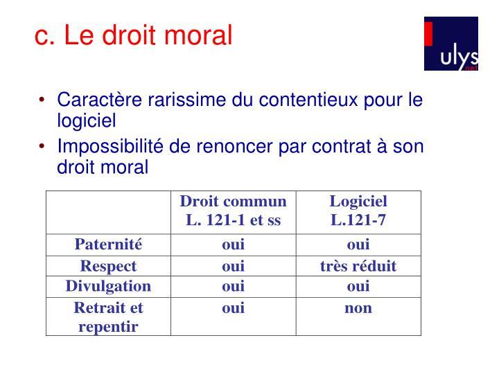 c. Le droit moral