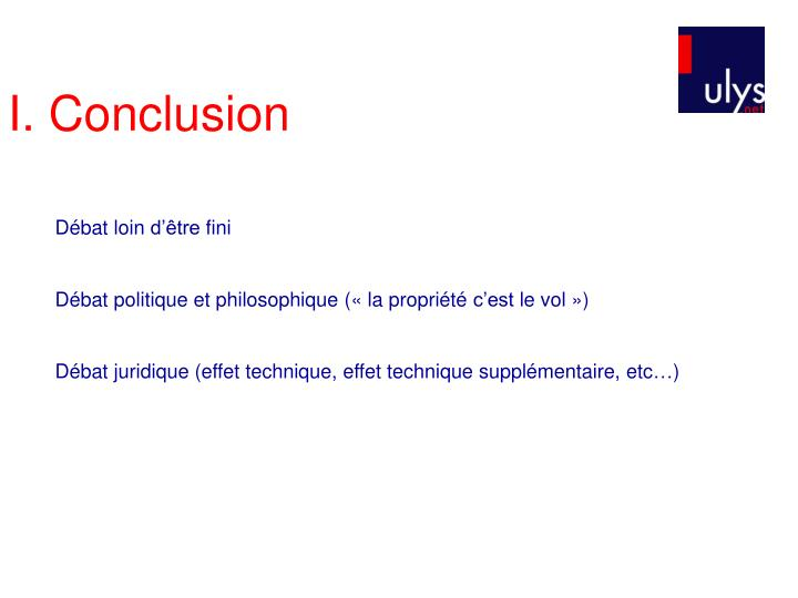 I. Conclusion