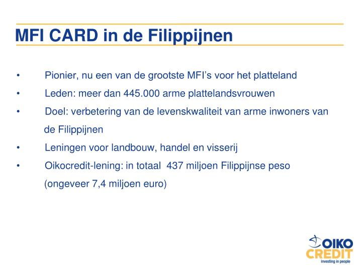 MFI CARD in de Filippijnen