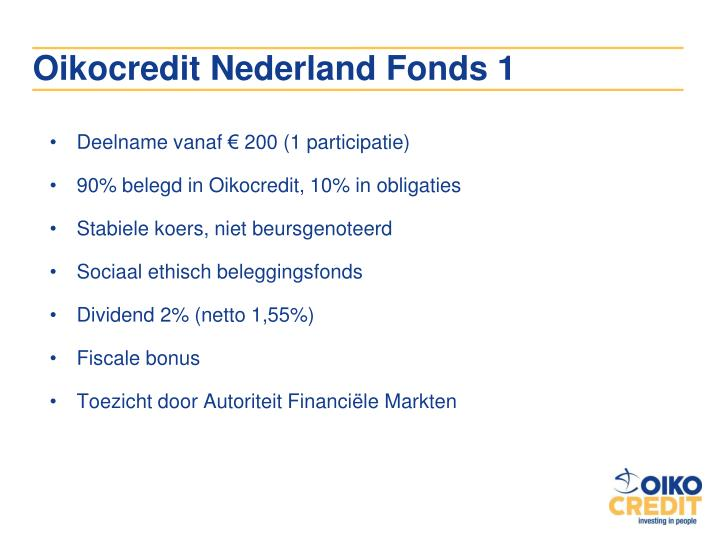 Oikocredit Nederland Fonds 1
