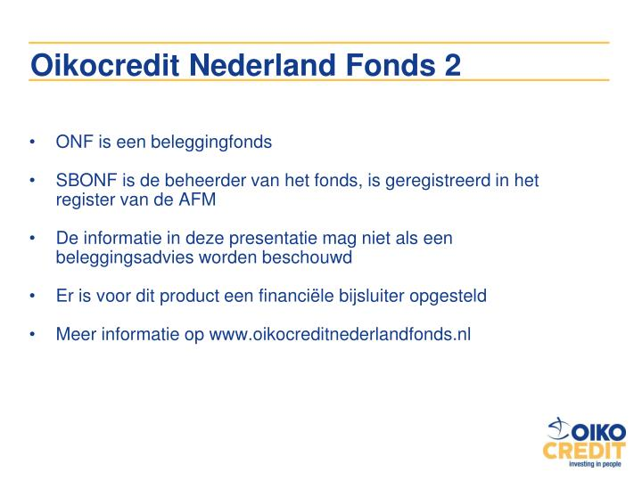 Oikocredit Nederland Fonds 2
