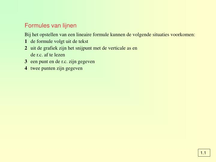 Formules van lijnen