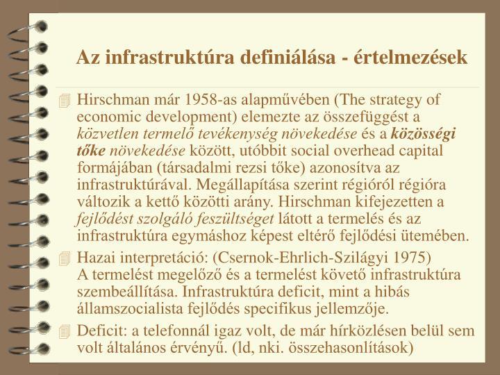 Az infrastruktúra definiálása - értelmezések