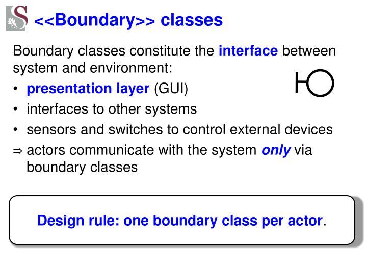 <<Boundary>> classes