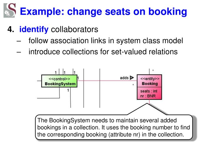 Example: change seats on booking
