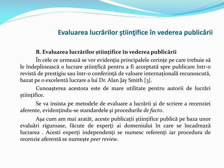 Evaluarea lucrărilor ştiinţifice în vederea publicării
