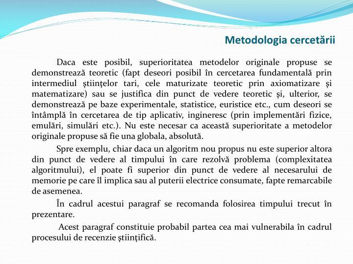 Metodologia cercetării