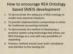 how to encourage rea ontology based smeis development