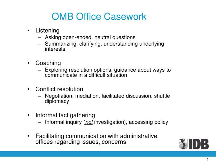 OMB Office Casework