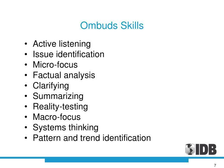 Ombuds Skills