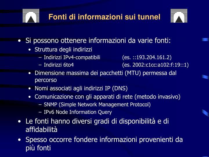 Fonti di informazioni sui tunnel