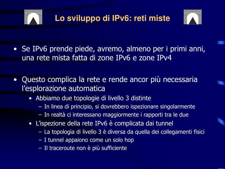 Lo sviluppo di IPv6: reti miste