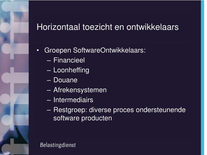 Horizontaal toezicht en ontwikkelaars