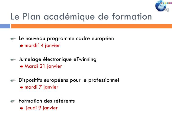 Le Plan académique de formation