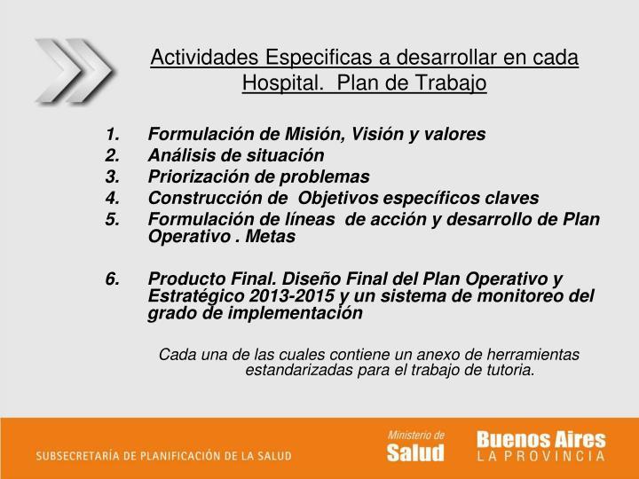 Actividades Especificas a desarrollar en cada Hospital.  Plan de Trabajo