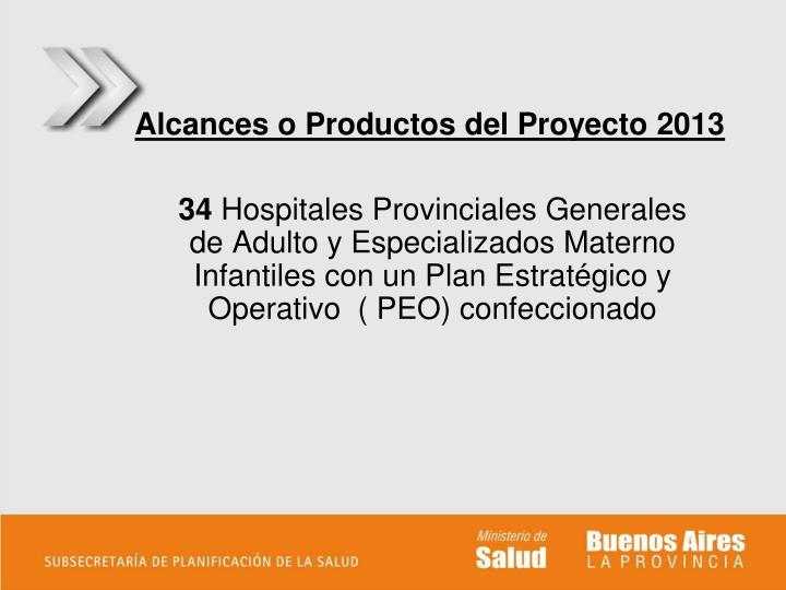 Alcances o Productos del Proyecto 2013