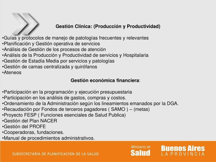 Gestión Clínica: (Producción y Productividad)