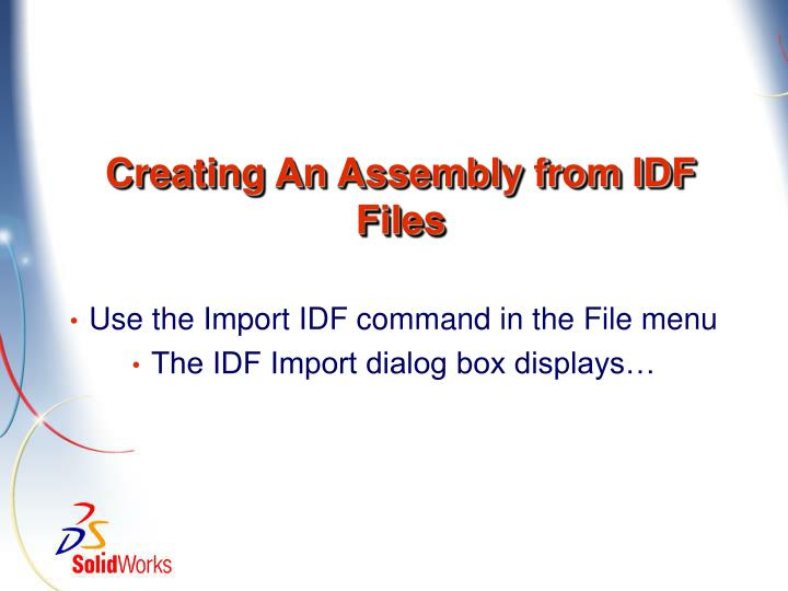 Creating An Assembly from IDF