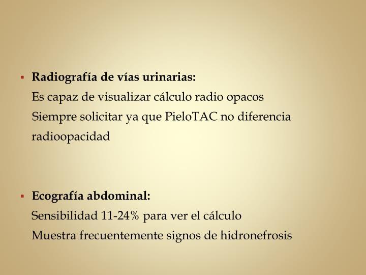 Radiografía de vías urinarias: