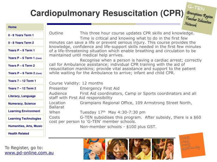Outline This three hour course updates CPR skills and knowledge.