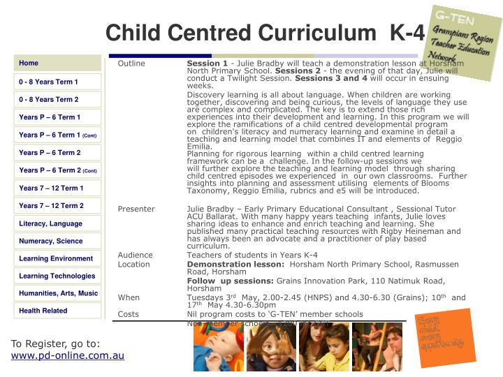 Child Centred Curriculum  K-4