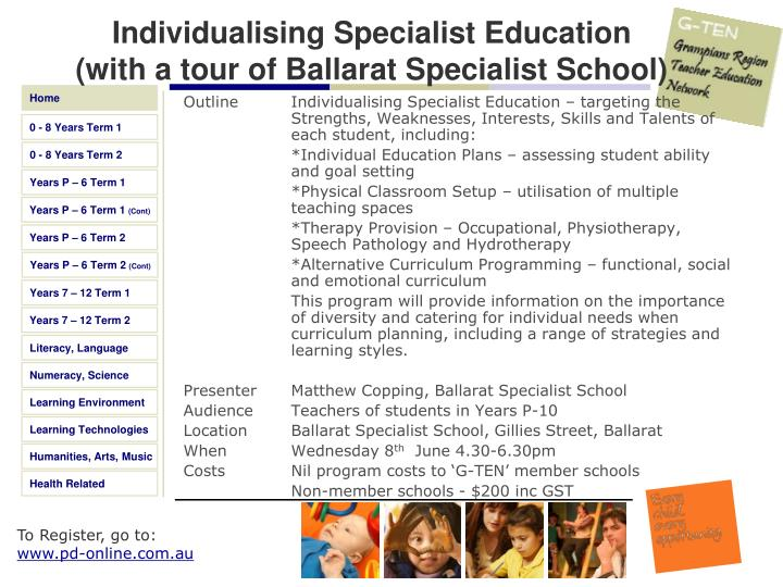 Individualising Specialist Education