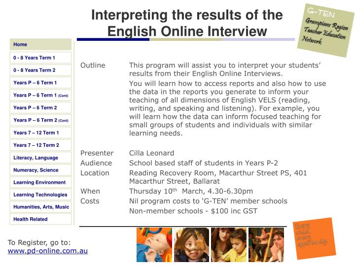 Interpreting the results of the English Online Interview