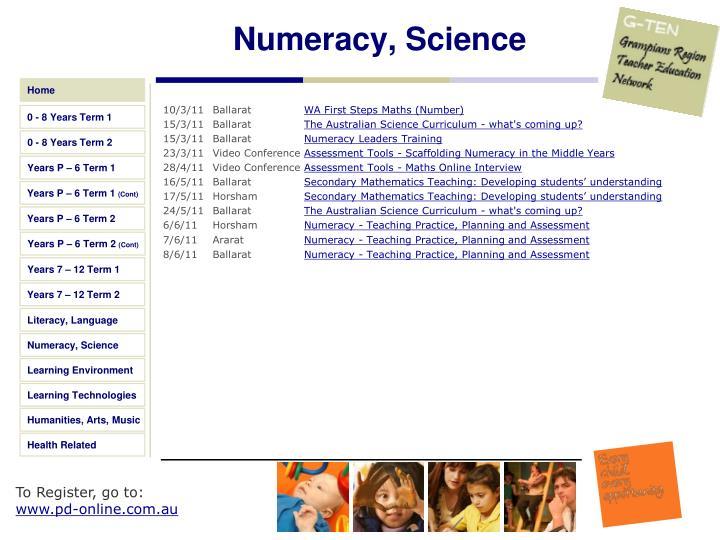 Numeracy, Science