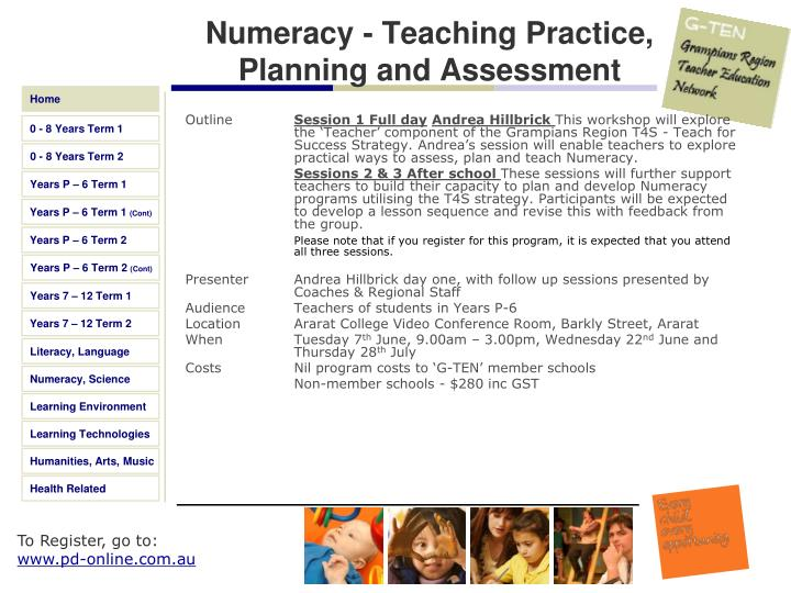 Numeracy - Teaching Practice, Planning and Assessment