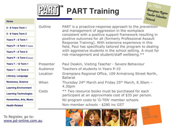 PART Training