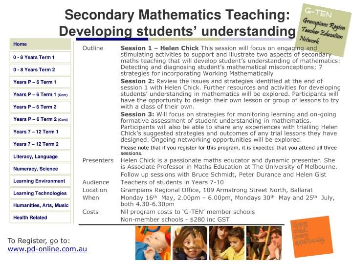 Secondary Mathematics Teaching: Developing students' understanding