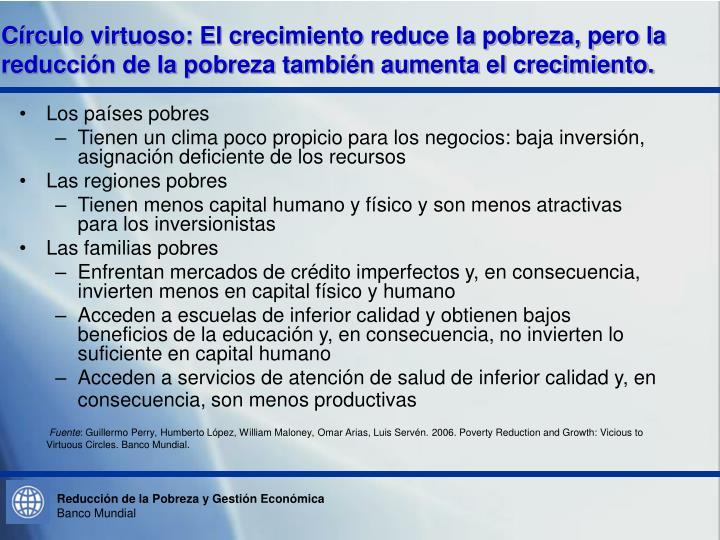Círculo virtuoso: El crecimiento reduce la pobreza, pero la reducción de la pobreza también aumenta el crecimiento.