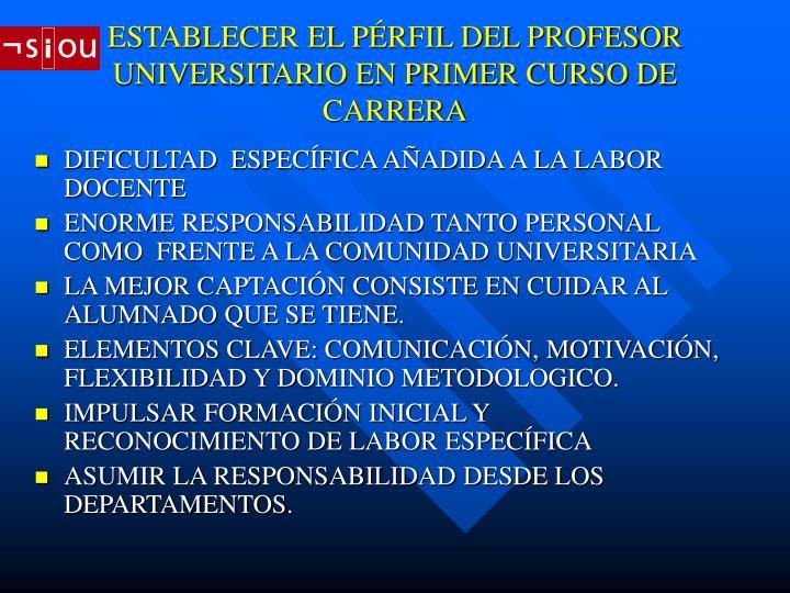 ESTABLECER EL PÉRFIL DEL PROFESOR UNIVERSITARIO EN PRIMER CURSO DE CARRERA