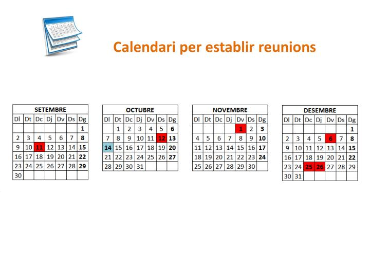 Calendari per establir reunions