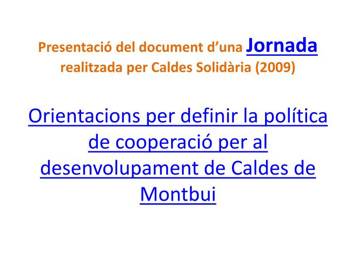 Presentació del document d'una