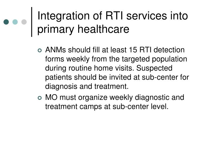 Integration of RTI services into primary healthcare