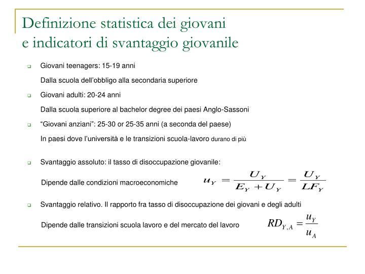 Definizione statistica dei giovani