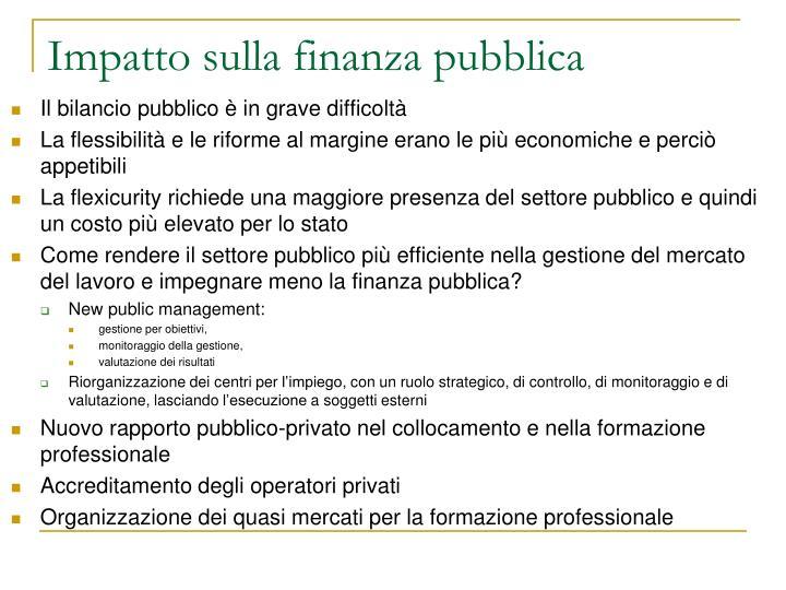 Impatto sulla finanza pubblica