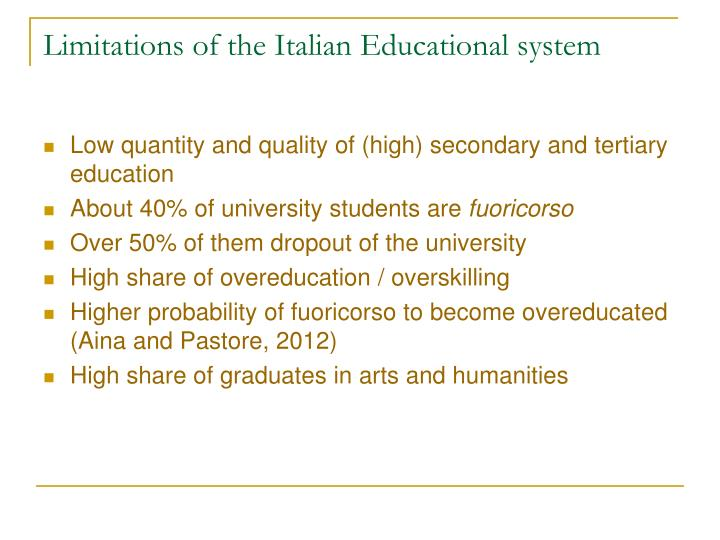 Limitations of the Italian Educational system