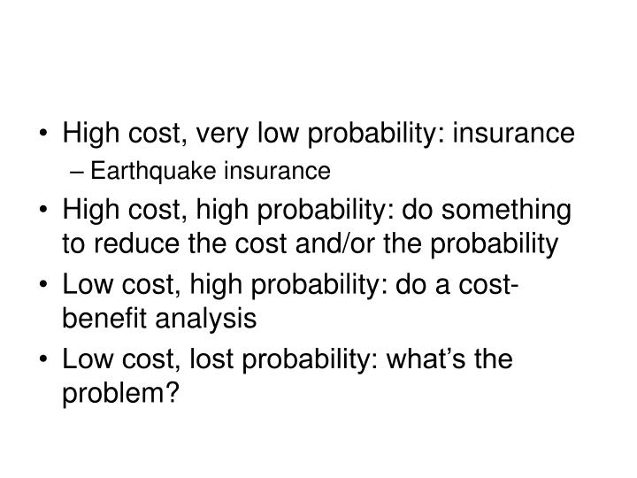 High cost, very low probability: insurance